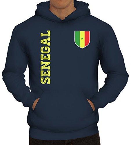 Wappen Fußball WM Fanshirt Gruppen Herren Hoodie Männer Kapuzenpullover Fan Trikot Senegal, Größe: 3XL,Navy