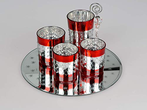 Formano Leuchter 6 TLG.-Set Windlicht Teelichthalter Advent-Deko 6 TLG.-Set rot-Silber 25 cm ~ Weihnachten ~Winterzeit ~