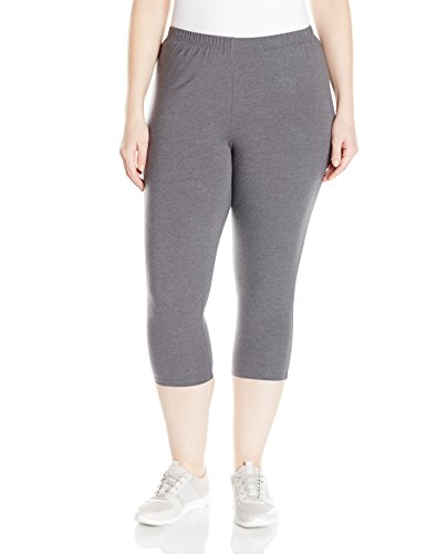 Just My Size Women's Plus-Size Stretch Jersey Capri, Charcoal Heather, 1X