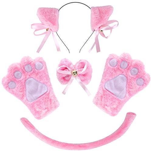 ECOMBOS Katzen Kostüm Zubehör - Katzenohren, Fliege, cosplay für katzen Tierkostüm Adorable Party Kostüm Zubehör Cosplay Halloween Mädchen Damen Mädchen und Kinde (Rosa)