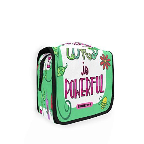 Kulturtasche zum Aufhängen mit Bibelschriften, Kunstposter-Organizer, Kulturbeutel, Kosmetiktasche, Reisetasche mit 4 Fächern für Frauen