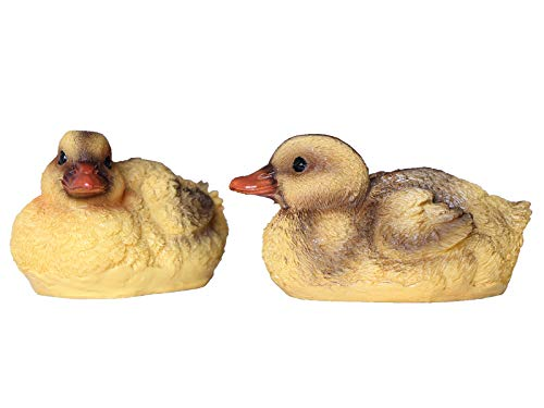 Floating Resin Duck Figurine Pond Décor Garden Lawn Patio Outdoor Statue Black Yellow (Set of 2)
