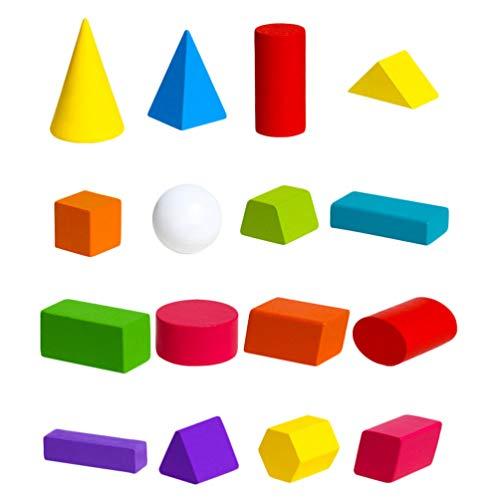 Toyvian 1 Conjunto de Blocos de Construção Geométricos Blocos de Empilhamento de Madeira Brinquedo Geométrico Montessori para Crianças Forma Quebra-Cabeça Brinquedos Educativos Do Jardim