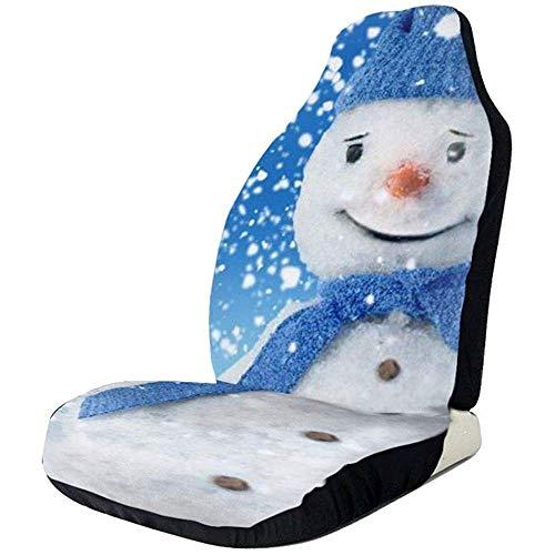 TABUE Juego completo de 2 fundas para asientos de coche, muñeco de nieve con sombrero, para la mayoría de los coches, camiones, SUVs o furgonetas