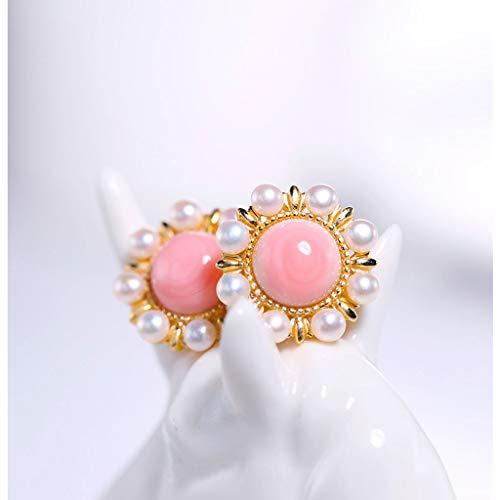 guoqunshop Pendiente Colgante Pendientes de Perlas de Agua Dulce Redonda con Pink Shell Perlas Exquisito y Damas Simples 2-3mm Pendientes de Plata de Ley 925 Pendientes de aro Daith