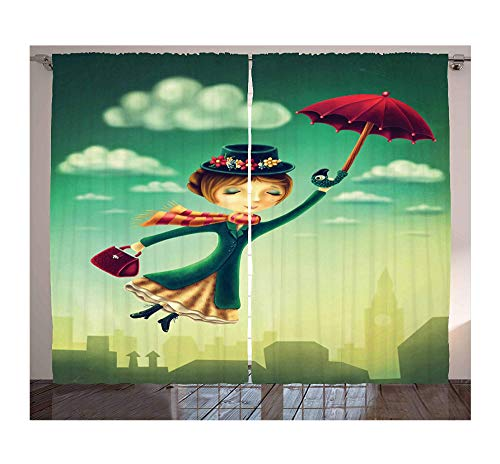 SHANGZHIQIN Cortinas de fantasía de Dibujos Animados de Cuento de Hadas niñera con Paraguas mágico y Bolsa Volando sobre el Horizonte de Londres