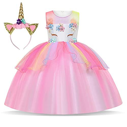 Foierp Robe Licorne Enfant de Princesse, avec Volants Cosplay pour Le Mariage et Les Parties,Unicorn Party