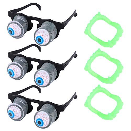 Amosfun Funny Broma Disguise - Gafas de globo ocular de primavera con dientes de Halloween para fiesta de Halloween Cosplay 3 piezas