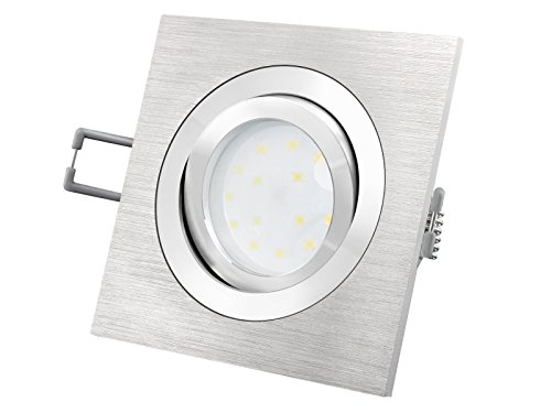 LED Einbaustrahler flach (30mm) dimmbar - QF-2 eckig Alu gebürstet schwenkbar mit 5W LED Modul warmweiß für 230V ohne Trafo