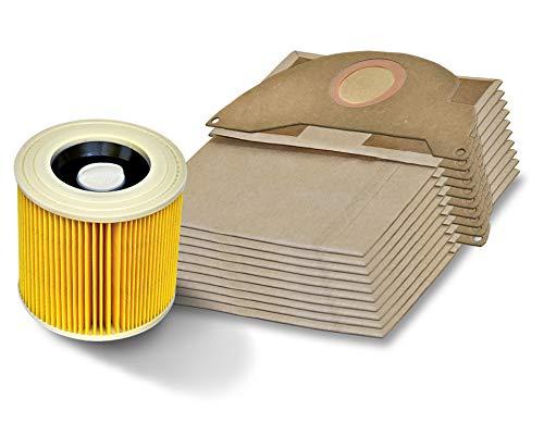 Invest 10 bolsas de aspiradora + filtro adecuado para Kärcher A 2004 A 2024 A 2054 MV 2 Karcher 6.904-322 Bolsas de papel Kärcher MV2 WD2 Premium para el funcionamiento en seco