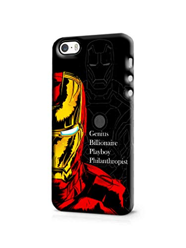 Galaxsia™ Iron Man Avengers Designer Printed Slim Light Weight Hard Mobile Back Case Cover Compatible for iPhone 5/5S/SE(Covering 360 Degree) (Red&Yellow&Black&White)(for Boys/Girls).