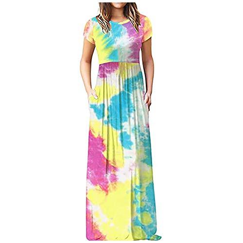 Dosoop Women's Casual Maxi Dresses Summer Tie Dye Gradient Printed Short Sleeve Dresses Loose O Neck Swing Beach Sundress