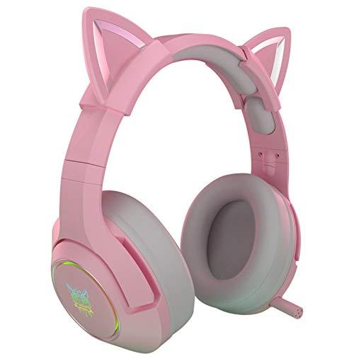 Auriculares Auriculares para Juegos de Color Rosa con Orejas de Gato extraíbles, con Sonido Envolvente, micrófono retráctil con cancelación de Ruido Ligero