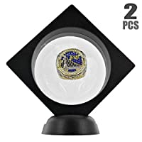 BIGWISH 2PCS Set 3D Floating Display Case Display Stands Holder Suspension Frame for Championship Ring,Challenge Coin,AA Medallion,Jewelry,Pin,Black,3.5x3.5x0.8 Inches(Without Rings)