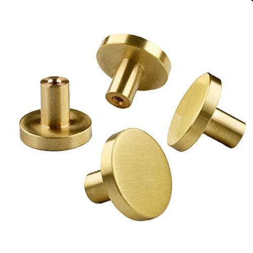 4 Stück Massiver Messing Runder Einlochiger Kleiner Griff, Schranktür Runder Griff Messingknopf mit Schrauben, Inneneinrichtung für Schranktüren, Möbelgriff, Gold (20 mm * 25 mm)