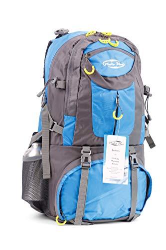 Mediablue 50L Bergsteigen Backpack Outdoor Leicht Rucksack Klettern Wanderrucksack Reise Sport Tagesrucksack Camping Trekkingrucksack Fahrrad (Blau, 50 Liter)
