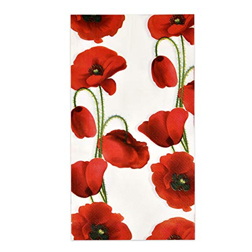 100 Poppy Floral Guest Napkins Decorative Hand Towel Red Flowers 3 Ply Disposable Paper Towels for Bathroom Toilet Holiday Wedding Powder Room Flower Dinner Party Fall Spring Guests Hostess Napkin