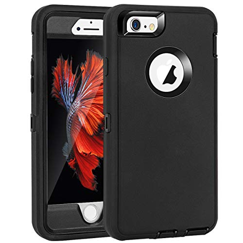 """MAXCURY for iPhone 6 Case & iPhone 6s Case Heavy Duty Shockproof Series Case for iPhone 6/6S (4.7"""")-V2 with Built-in Screen Protector Compatible with All US Carriers - Black"""