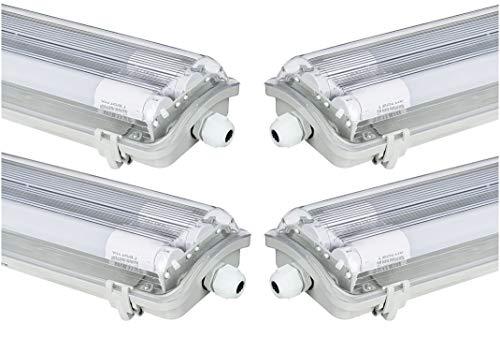 4x G13 LED Feuchtraumleuchte 2x T8 LED, 36W 3600LM 120cm, IP65 LED Feuchtraumwanneneuchte, LED Wannenleuchte Leuchtstofflampe, Neutralweiss CRI80 (4*NW)