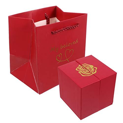 WINOMO 1 Satz Rote Rose Schmuck Geschenkbox Vintage Perlglanz Papier Gunst Boxen für Die Herstellung von Süßigkeiten Keks Behandeln Goodies Hochzeit Weihnachten Geburtstag Urlaub