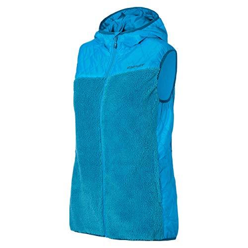 Ziener dames Teddy Fleece vest met capuchon Jarra blauw 230 Gr.38 nieuw
