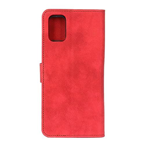 YANCAI Funda Protectora para LG K42 Flip Wallet Funda Kickstand Tarjeta Slots Cierre magnético Funda Protectora a Prueba de Golpes (Color : Red)