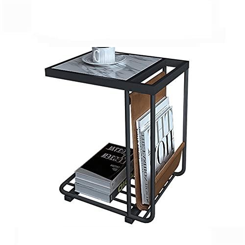 Sofá lateral de la mesa del extremo de la mesa de la mesa de mármol Mesa de centro de mármol de almacenamiento rectangular Mesa de sofá para sala de estar Dormitorio HOTELING HOGAR BALCONY LECTURA