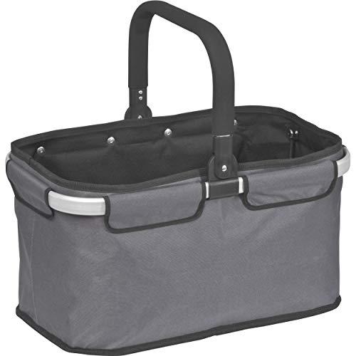 StillRich Industries Einkaufskorb faltbar aus Polyester und Aluminium | Volumen 32 Liter | nutzbar als Einkaufstasche oder als Picknickkorb (anthrazit)