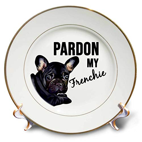 3dRose Stamp City - Typography - Pardon My Frenchie with Black Frenchie. Black on White Background. - 8 inch Porcelain Plate (cp_323417_1)