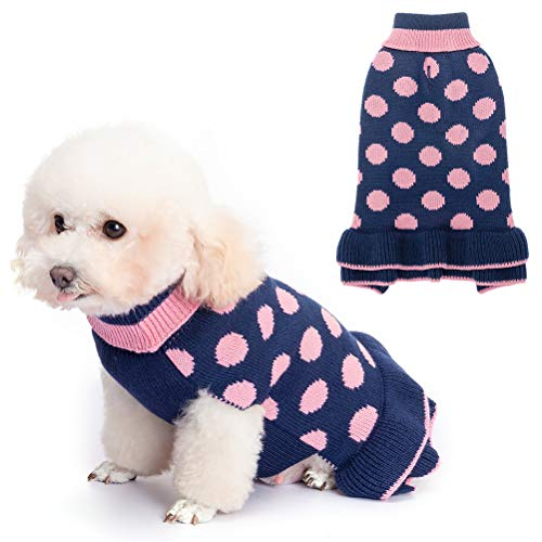 EXPAWLORER Dog Sweater for Small Dogs - Dog Winter Clothes with Leash Hole, Warm Polka Dot Turtleneck Knitwear Skirt for Puppy, Dog Winter Coat Apparel for Girl Dogs