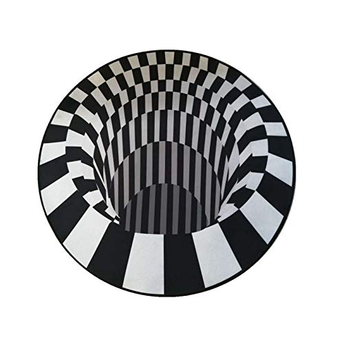 CHLDDHC Alfombra 3D Alfombra Redonda Ilusión Whirlpool Alfombra Antideslizante No Tejido Fleece Negro Blanco Alfombrilla para Sala de Estar Dormitorio Cocina Mesa de té Sofá Alfombra (120 X 120Cm)