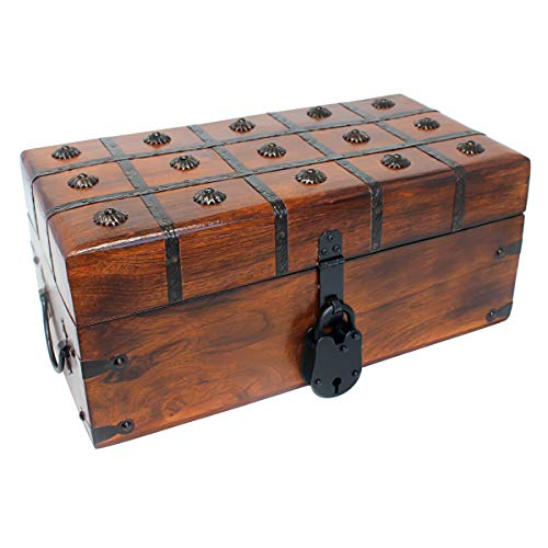 Nautical Cove Treasure Chest Wooden Box with Antique Iron Lock and Skeleton Key - Storage and Decor (Large 14.25 x 7.75 x 6')