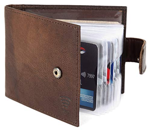 Radis,Kreditkarten Etui RFID Block,Visitenkartenetui,Echtes Leder (Braun)