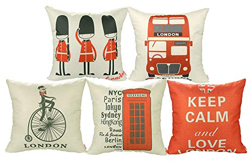 Luxbon Set of 5Pcs London Design Cushion Covers 18x18...