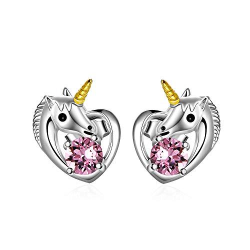 Einhorn Ohrringe 925 Sterling Silber Mädchen Ohrstecker Herz mit Swarovski-Kristallen, Einhorn Schmuck Geschenke für Mädchen Frauen (Rosa)