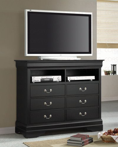 Coaster TV Dresser Stand Louis Philippe Style in Deep Black Finish