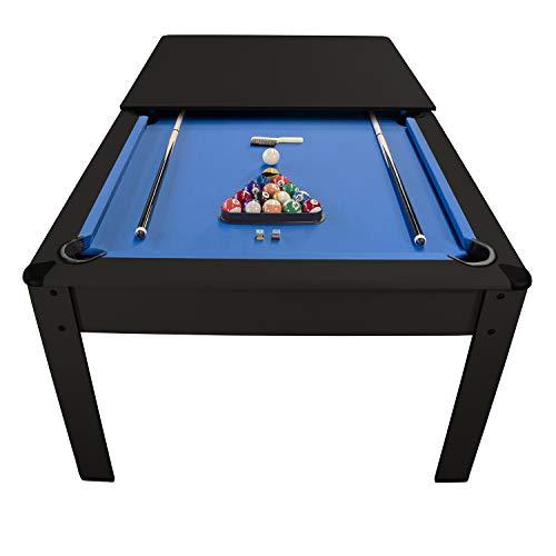 PLAY4FUN Billar americano Harmony 6Ft – 206,5 x 116,5 x 80 cm con accesorios y bandeja de cena, color negro y alfombra azul