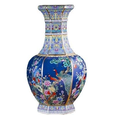 Liangliang988 Jingdezhen Nachahmung Antike Keramik bunte Vase chinesischer Stil Qianlong Wohnzimmer Dekorationen sechs Blumen und Vögel Ornamente