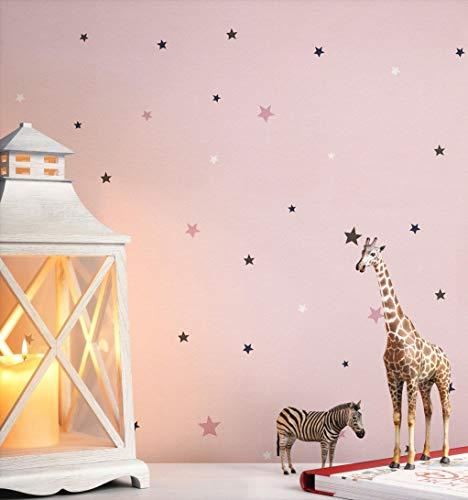 NEWROOM Kindertapete rosa Sterne Sternchen Kinder Papiertapete Papier Kindertapete Kinderzimmer Babytapete Babyzimmer Mädchen
