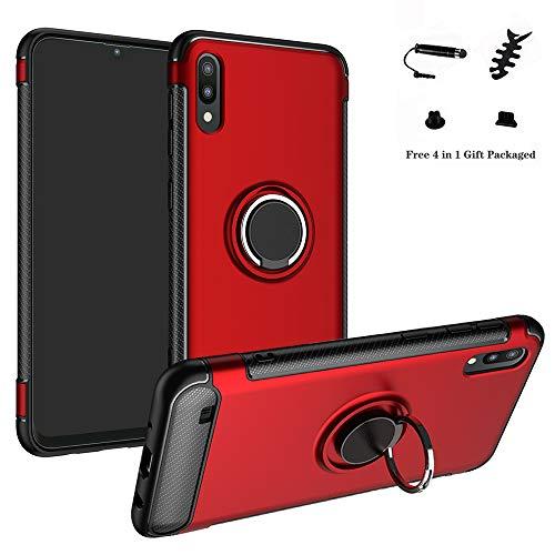 LFDZ Galaxy A10 Hülle, 360 Rotation Verstellbarer Ring Grip Stand,Ultra Slim Fit TPU Schutzhülle für Samsung Galaxy A10 / M10 2019 Smartphone (Nicht für Galaxy A20 / A30 / A50 / M20 / M30),Rot