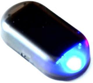 車のソーラーアラーム ダミー セキュリティライト シミュレートされた模倣の警告 アンチ盗難点滅点滅 (青い)