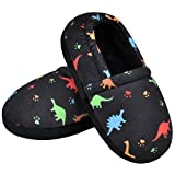 MIXIN Toddler Slipper for Girls Boys Indoor House Shoes Slip-on with Memory Foam Cute Cartoon Dinosaur Black 7 8 US