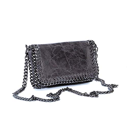 Modische Umhängetasche aus grauem Leder mit sehr eleganter Kette.