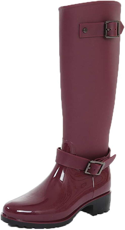 pink town Women's Long Non-Slip Waterproof Boots Buckle Zipper rain Boots