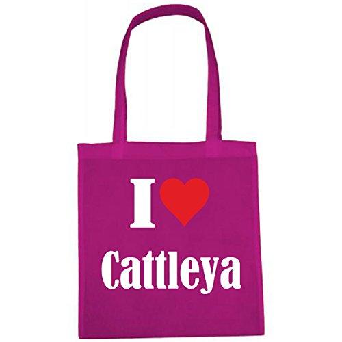 Tasche I Love Cattleya Größe 38x42 Farbe Pink Druck Weiss