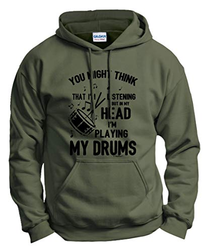 Music Lovers Gifts Music Gifts Drummer Clothes But in My Head I'm Playing My Drums Funny Quote Hoodie Sweatshirt Medium MlGrn Military Green