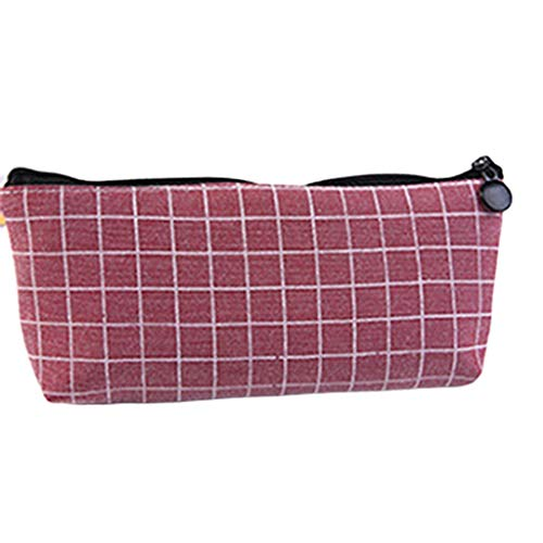 Pencil Cases Canvas Pencil Case Grid Pencil Case Cute Simple Solid Color Stationery Bag 19cm 9.5cm (Color : Red)
