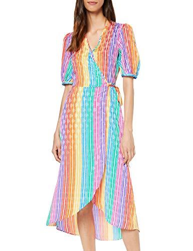 Marca Amazon - find. Vestido Midi Cruzado Mujer, Multicolor (Multicolour), 36, Label: XS