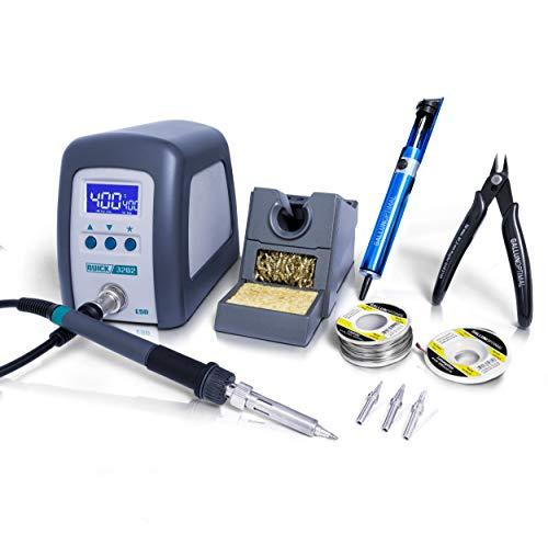 QUICK 3202 - Estación de soldadura digital regulable ESD (90 W, incluye soldador con punta de soldadura de 1 mm y accesorios, calibrable 100° - 550 °C, protección ESD y función de reposo automático)
