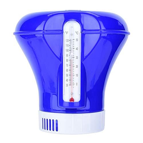 Vaeiner Chlorine Dispenser, 8 Inch Zwembad Drijvend Chemische Chlorine Tablet Dispenser Feeder Applicator met Thermometer Spa Hot Tub benodigdheden